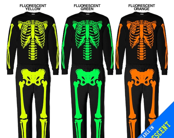 Halloween Skeleton FLUORESCENT light Costumes - Front & Back, Available in 5 colors