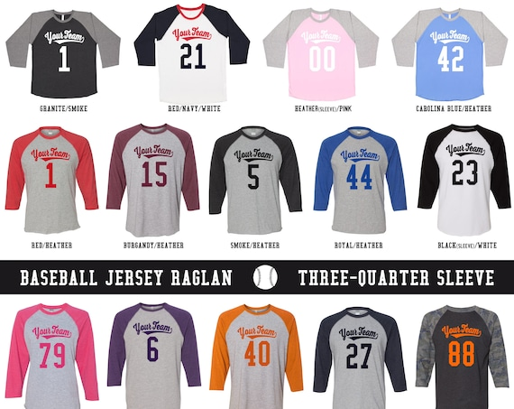 CUSTOM Team or Family Vintage Raglan Jerseys with Your Name & Number