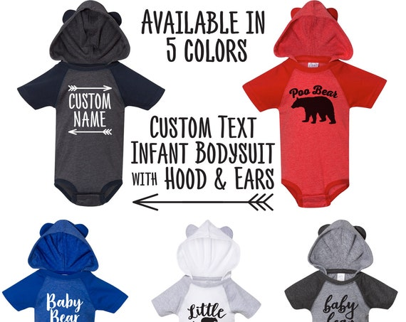 Infant Hoodie Bodysuit with Ears - Custom Text, Graphics, and Colors