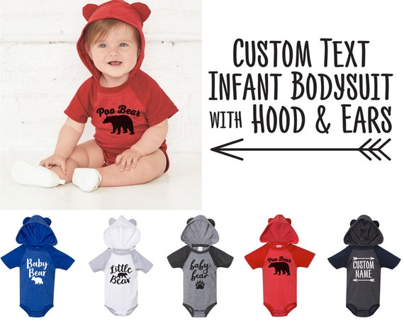 Custom Infant Bodysuit with Hood & Ears - Baby Shower Gifts