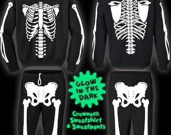 Glow-In-The-Dark Skeleton Halloween Costume Sweatshirts and Sweatpants for Men, Women, and Kids.