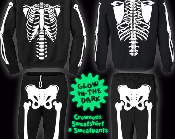 Glow-In-The-Dark Skeleton Halloween Costume Sweatshirts and Sweatpants for Men, Women, and Kids.