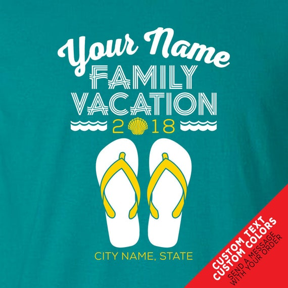 Custom Beach Vacation Flip Flop T-Shirts - Matching Color Shirts for the Whole Family or Group Beach Trip!