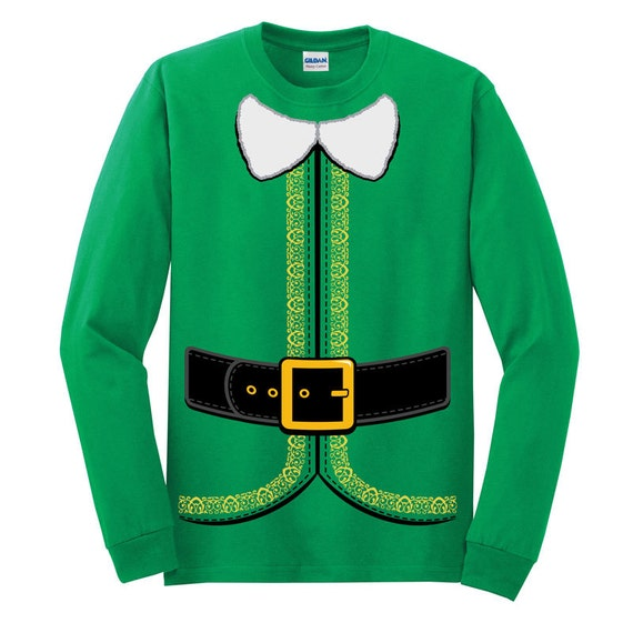 Christmas Elf Costume T-shirt Longsleeve and Short Sleeve (Youth,Womens,and Mens Sizes)