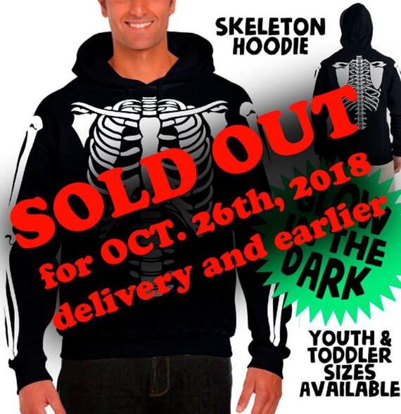 Skeleton Hoodie Halloween Costume Glow-in-the-Dark Sweatshirts