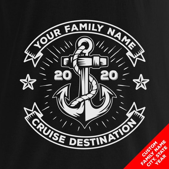 Custom Cruise Nautical Shirts for 2020 with Custom Family Name, Colors, and Cruise Destination