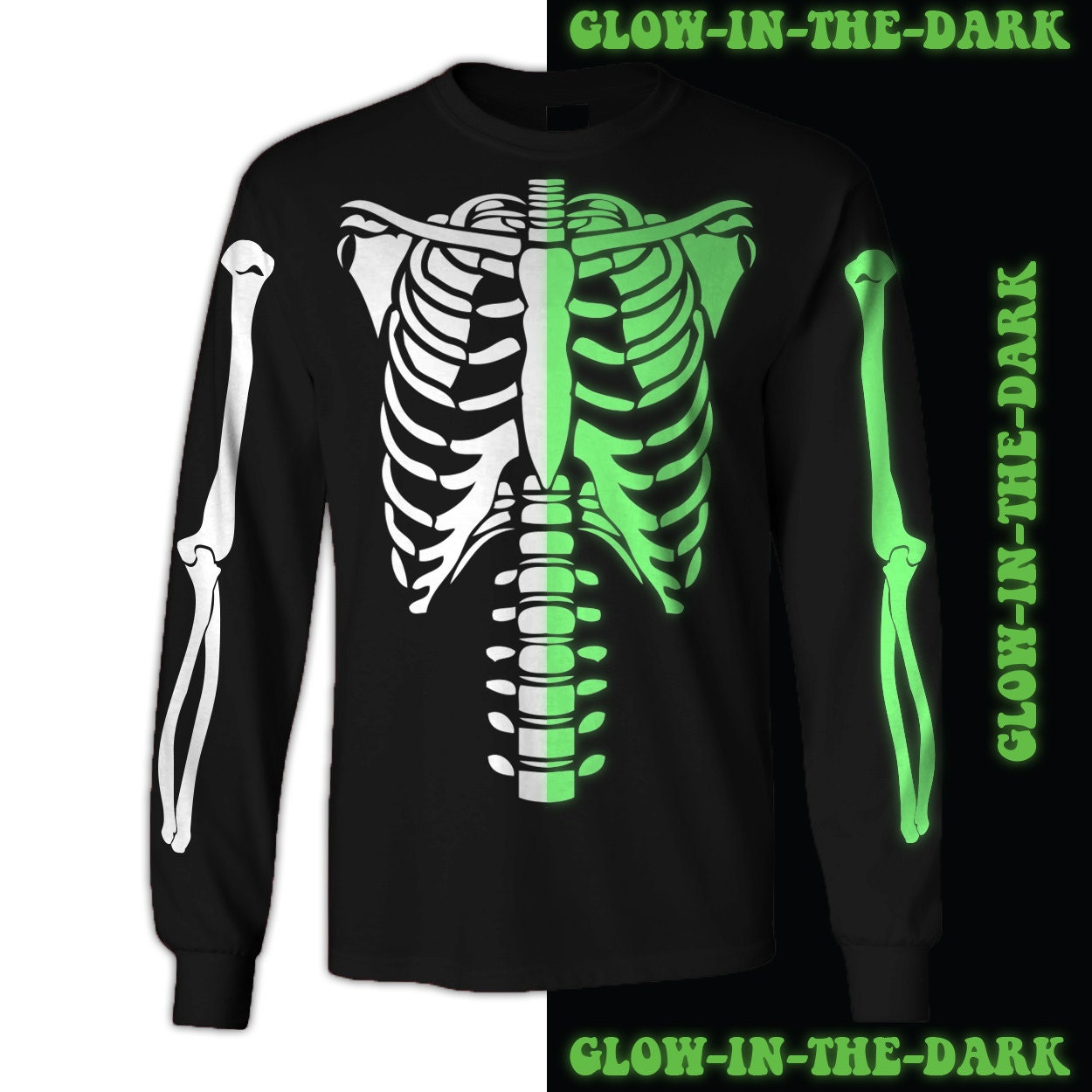 Skeleton Halloween Costume T Shirt Glow In The Dark Front Only