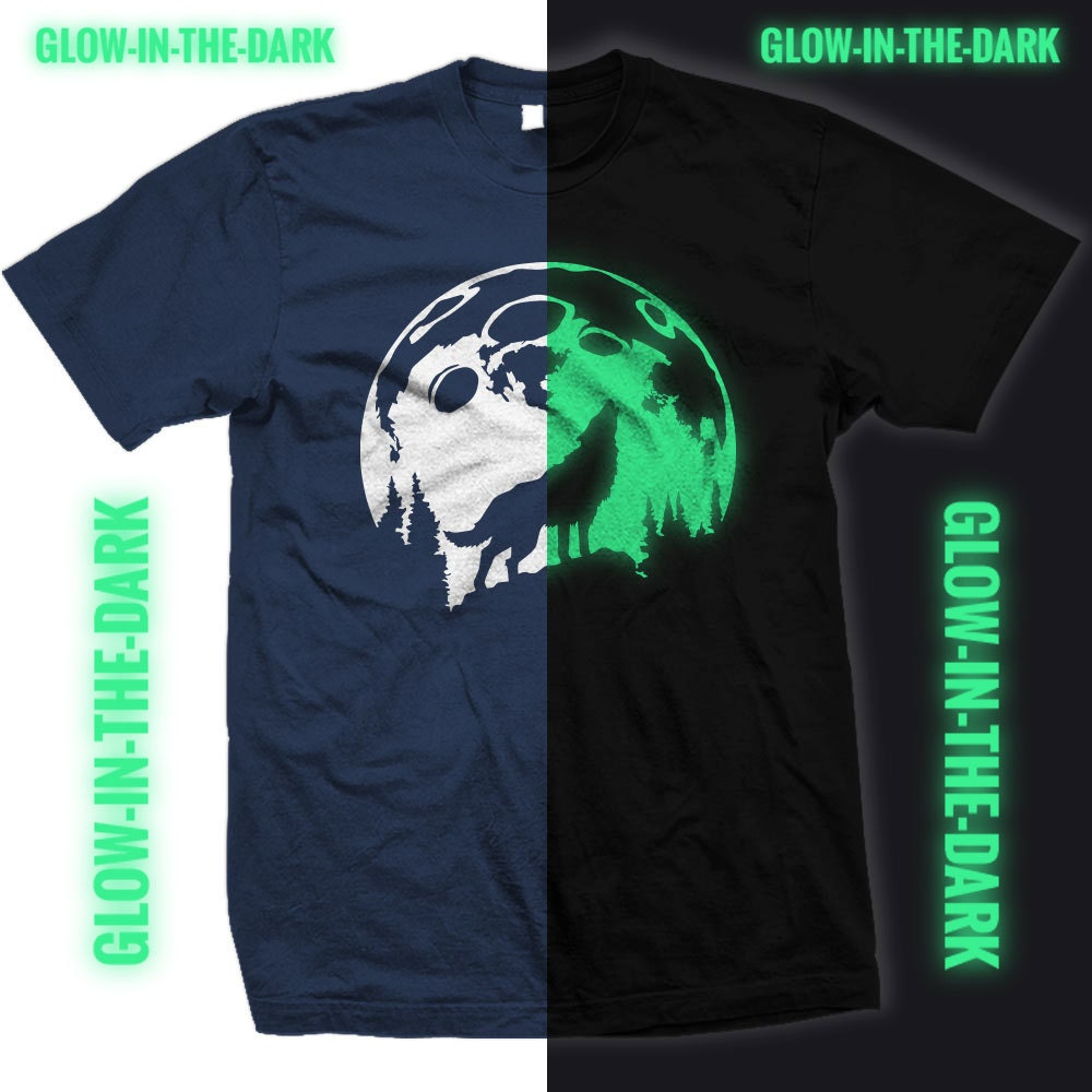 Glow In The Dark Wolf Howling At The Moon Tee Shirt