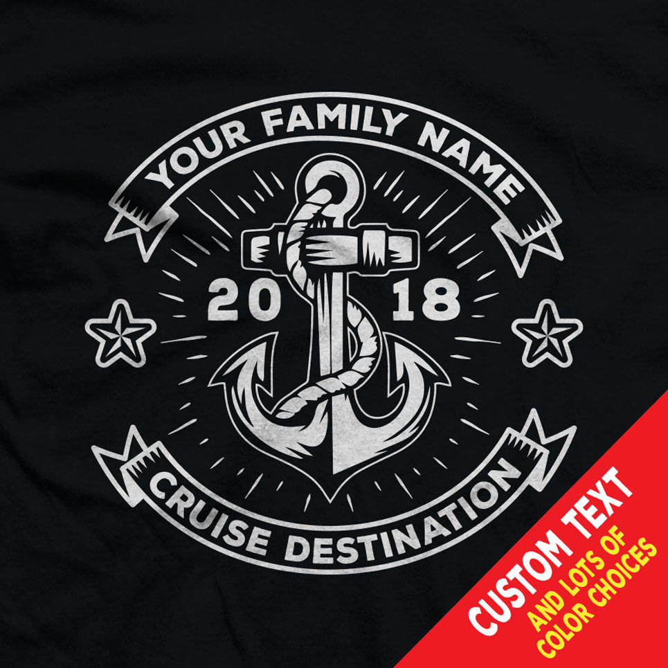 Custom Cruise Nautical Shirts With Custom Family Name Colors And