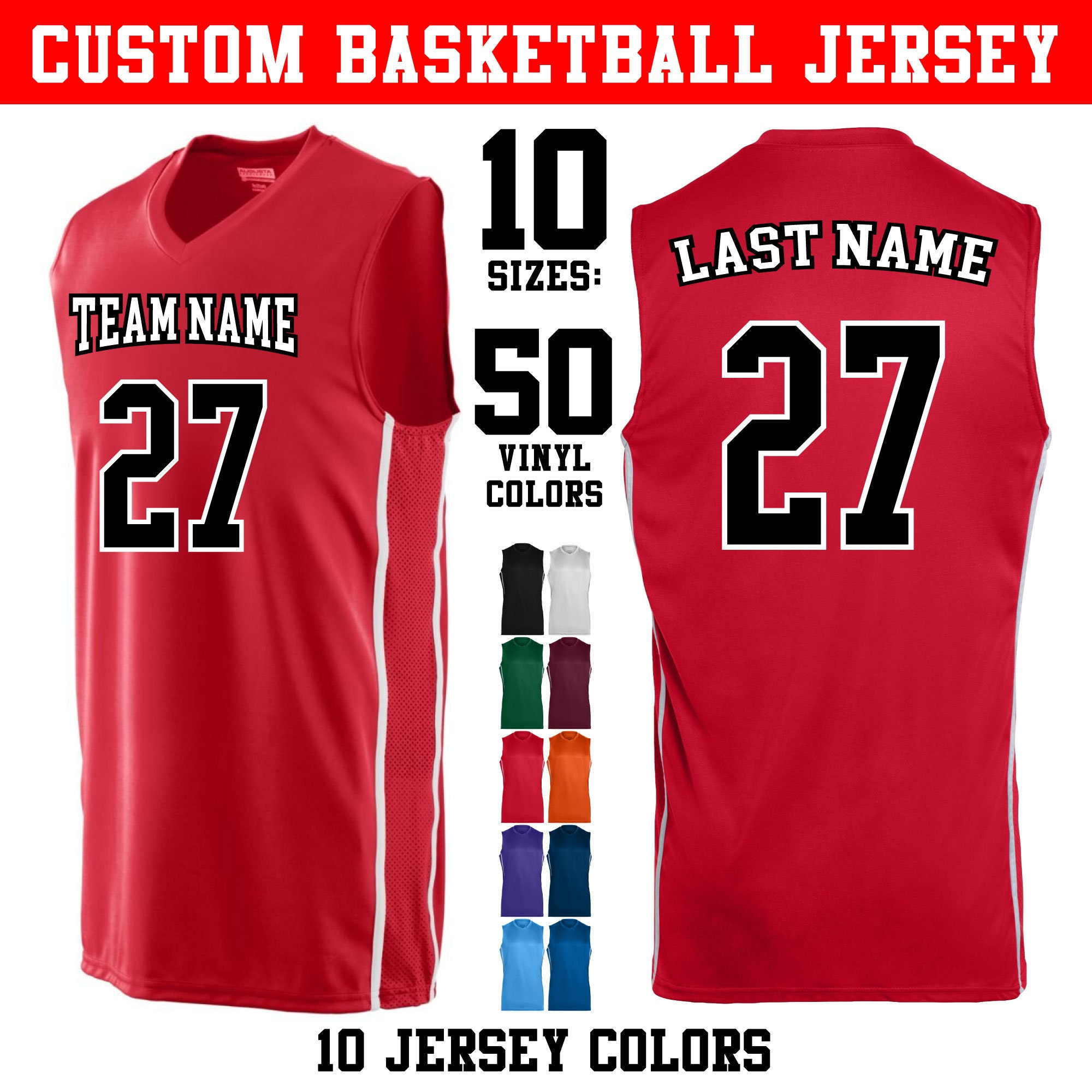 Custom 2 Color Basketball Jerseys In Adult And Youth Sizes 10 Etsy