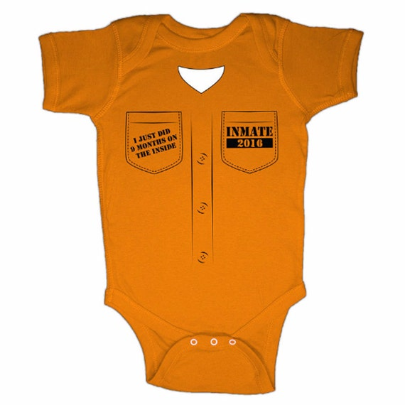 9 MONTHS on the INSIDE Infant baby toddler prison 2017 bodysuit T Shirt tshirt new nine body suit funny gift baby shower