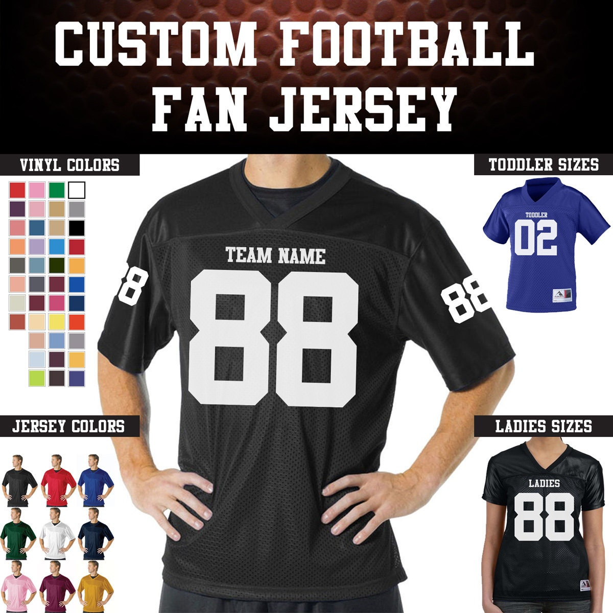 0a2ea8154f8b CUSTOM Football Team Name and Number Jersey with custom back ...