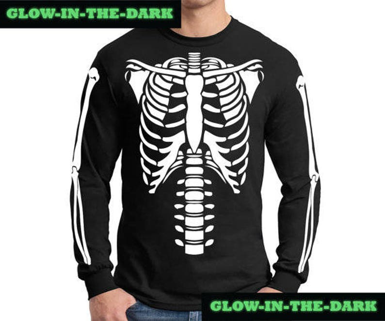 a943eebf Skeleton Halloween Costume Long Sleeve Shirt Glow-in-the-Dark | Etsy