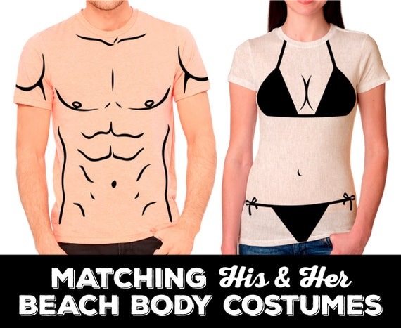 Matching His and Her, Beach Body Halloween Costumes. Ladies' Bikini Shirt and Strong Man Shirt Combo. Send both shirt colors in message.