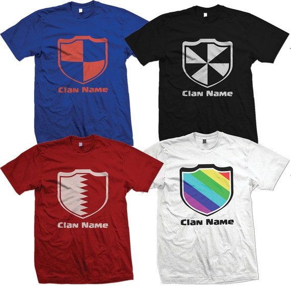CUSTOM Clash With Your Clan T-shirts with Personalized Clash of Clans Shield, Clan Team Name,  and Member Name