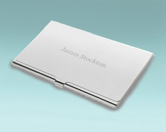 contemporary silver business card holder its not just business make it personal with engraving what an cool graduation gift - Engraved Business Card Holder
