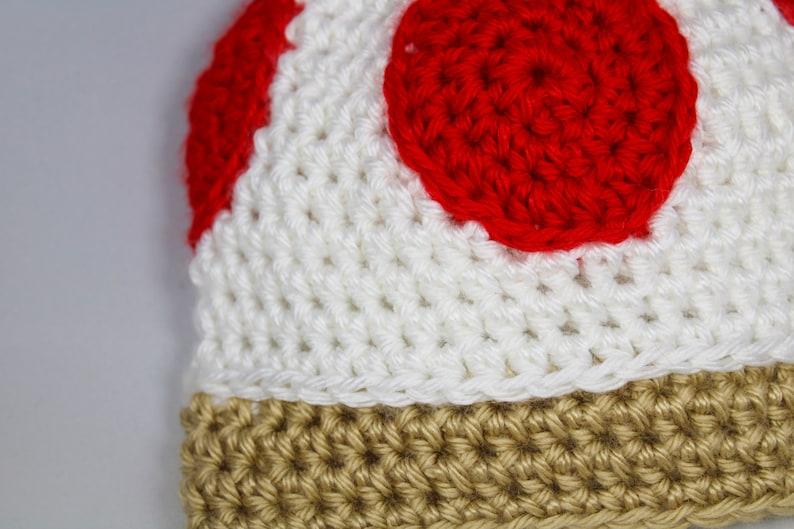 Newborn  Child Red Toad Mushroom Mario Hat Handmade Crochet  Knit
