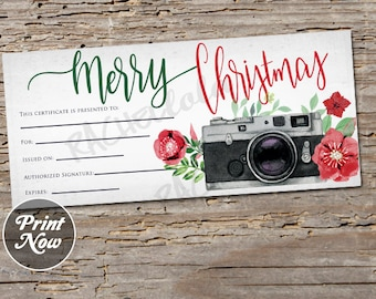 christmas camera printable gift certificate template photography session photo gift voucher camera gift card instant digital download