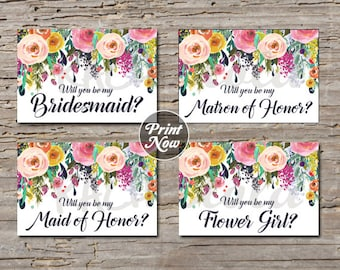 Maid of Honor Request, floral watercolor, printable template, instant digital download, will you be my bridesmaid card, matron of honor