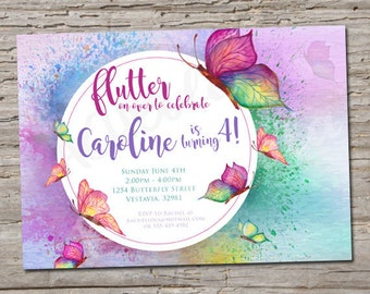 Watercolor Butterfly birthday invitation, first birthday party, flutter on over, baby shower, girl teen printable template, digital download
