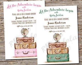 Let The Adventure Begin Baby Shower Invitation Welcome To World Printable Template Digital Download Travel Party Suitcase Boy Girl