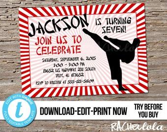 Editable Red Karate Birthday Party Invitation Printable Template Invite Boy Girl Taekwondo Belt Ceremony Digital Download Templett