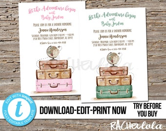 Editable Travel Let The Adventure Begin Baby Shower Invitation Printable Template Boy Girl Suitcase Digital Instant Download Templett