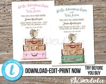 Editable Travel Let The Adventure Begin Baby Shower Invitation Printable Template Boy Girl Suitcase Digital Instant Download Templett