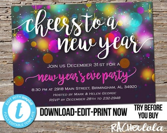 editable cheers to a new years eve party invitation template bright bokeh printable company kids family digital instant download templett