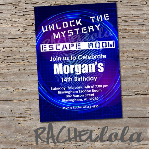 Escape Room Birthday Party Invitation Breakout Unlock Boy