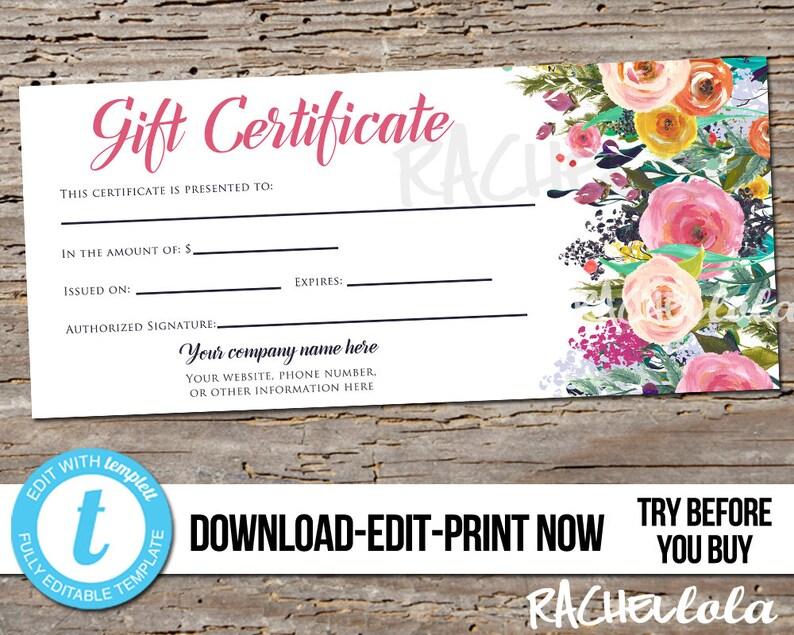 Editable Custom Printable Gift Certificate template Flowers image 0