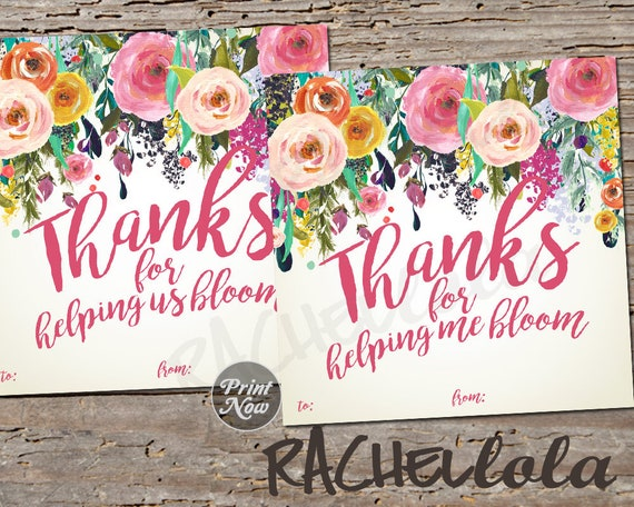 photo regarding Thanks for Helping Me Bloom Printable titled Printable instructor appreciation reward template, Floral due