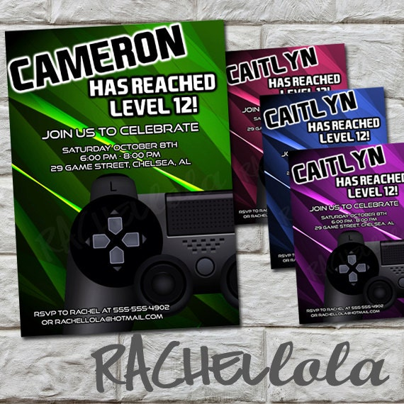 Video Game Birthday Party Invitation Printable Template Boy Girl 13th Gamer Truck Digital Download Pink Green Purple