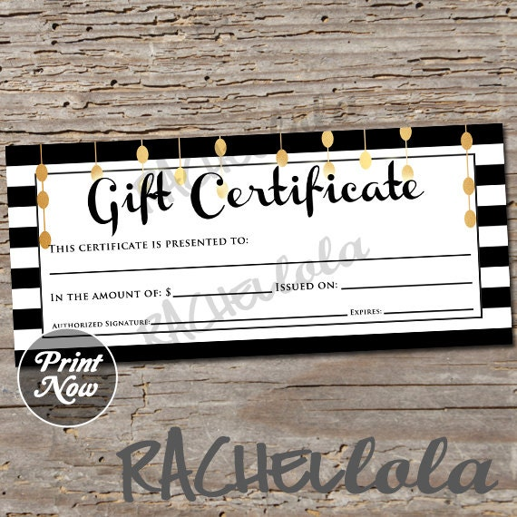 Black White And Gold Printable Gift Certificate Template Etsy