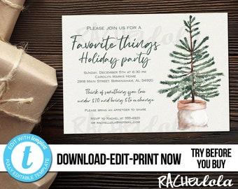 Editable Christmas Favorite things party invitation, Elegant simple Printable template, Holiday gift exchange, Digital Download, Templett