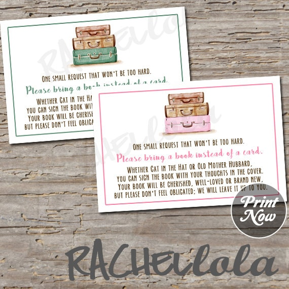 travel bring a book instead of a card baby shower invitation etsy
