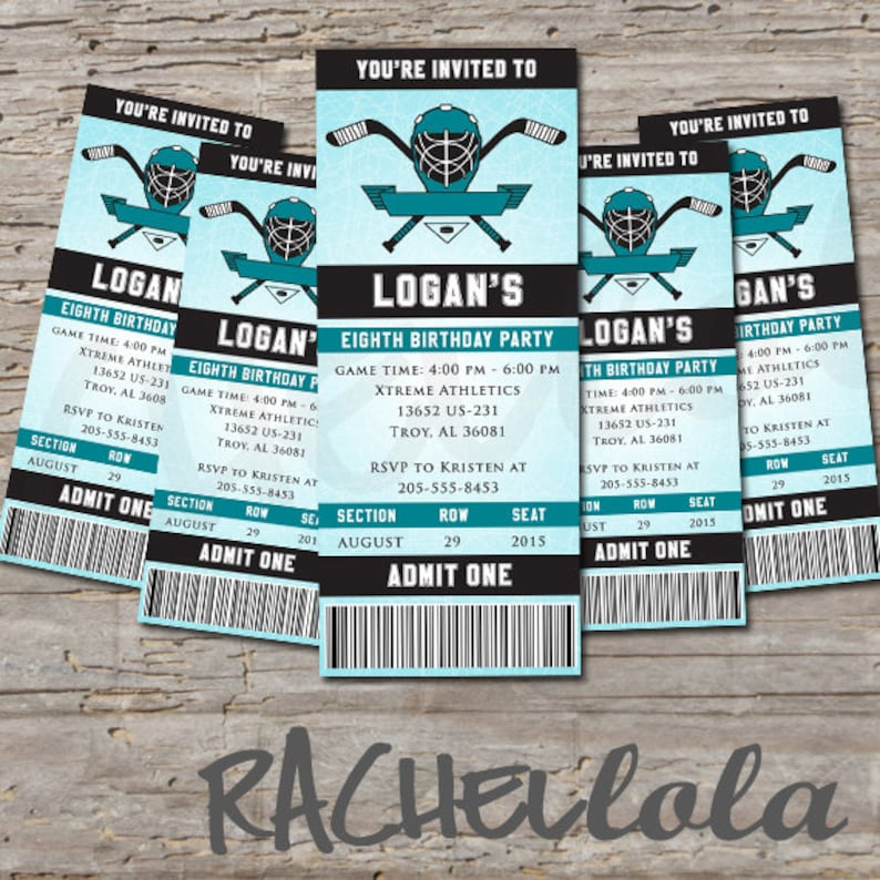 Ice Hockey Birthday Party Invitation Ticket End Of Season