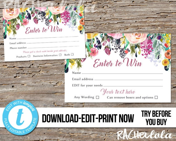 Editable Raffle Ticket Card Printable Prize Entry Ticket Enter To