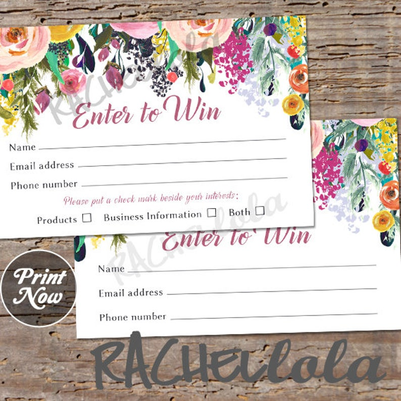 Printable Raffle ticket template Door prize entry form Enter image 0