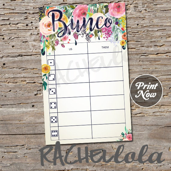 image about Printable Bunco Table Tally Sheets titled Floral Bunco, Desk tally sheets, us them tally playing cards