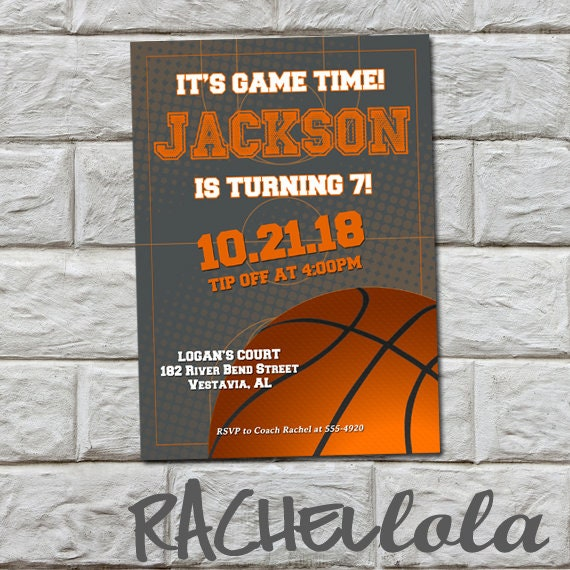 Grey Basketball Birthday Party Invitation Printable Template End Of Season Team Banquet Teen Boy Girl Sport Digital Download