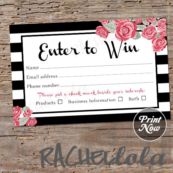 Printable Raffle Ticket Template Door Prize Entry Form Enter To Win Giveaway Photography Free Session Instant Download Mary Kay Pink