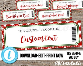 Editable Custom Printable Christmas Coupon template, Gift Certificate, Husband, Wife, Kids, Date night, Love, Parents, DIY, Digital download