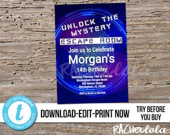 Editable Escape Room Birthday party invitation, Printable template Breakout room, Unlock, boy, girl, Digital instant download, Templett, DIY