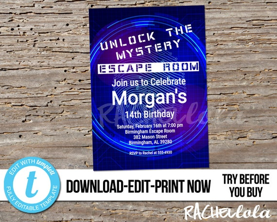 picture relating to Printable Escape Room named Editable Escape Area Birthday bash invitation, Printable