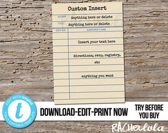 Editable custom invitation insert, Library card Printable Template, Thank You, Detail, RSVP, Response, Book Baby, Birthday, Instant download