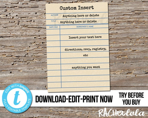 photograph relating to Library Card Printable titled Editable customized invitation increase, Library card Printable