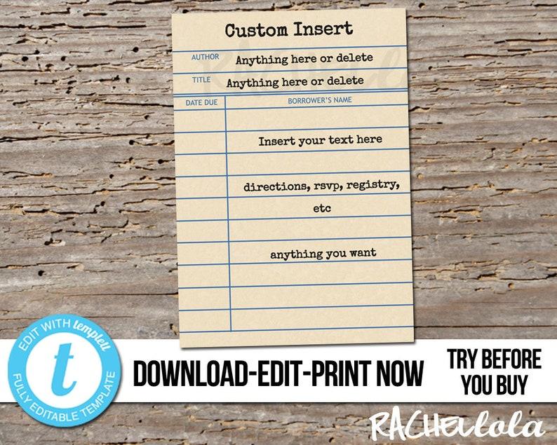 Editable Custom Invitation Insert Library Card Printable