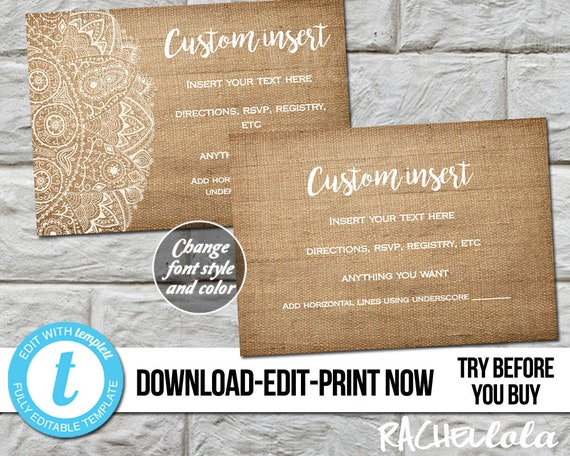 Editable Custom Invitation Insert Burlap Lace Printable Template Rustic Thank You Detail RSVP Response Baby Birthday Instant Download