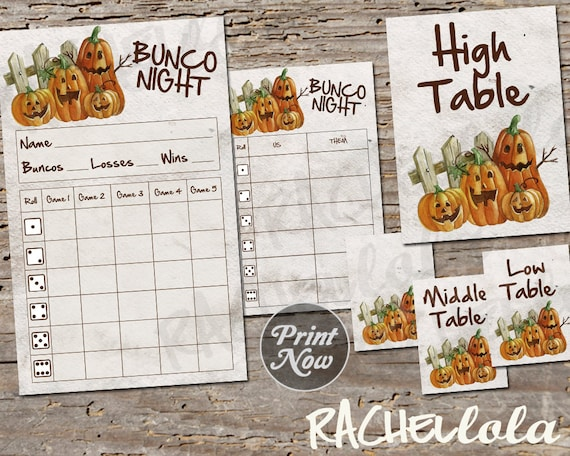 Enjoyable Pumpkin Bunco Bundle Scorecard Tally Table Signs Fall Download Free Architecture Designs Scobabritishbridgeorg